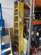 Two Youngman Fibreglass 'A' frame 8 tread ladders and a 4 tread Ali 'A' frame ladder * This lot is