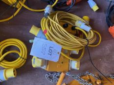 Defender IP44 power & light 4 way splitter box c/w two extension cables *This lot is located at