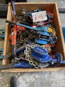 Ten various chain hoists 0.5 x 1, 1.0 x 3, 1.5 x 3, 3.0 x 1, 5 x 2 & 12 Lever Hoists 0.25 x 1, 1.5 x