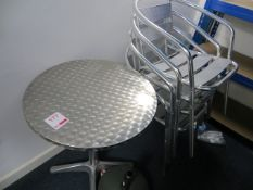 600mm Diameter Outdoor Table & Four Chairs* This lot is located at Unit 15, Horizon Business Centre,