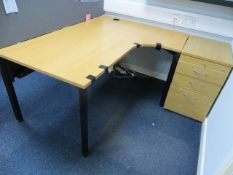 Two Light Oak Veneer Workstations c/w three Pedestals* This lot is located at Unit 15, Horizon
