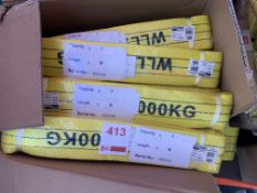 A box of approx. 15 Unused duplex webbing slings Cap 3Ton, 3M length. *N.B. This lot has no record