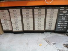 Eight steel multidrawer units and contents to include sockets, taps, punches, lugs, drill bits,
