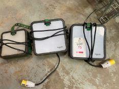 Two Schneider Thornsman 50 LED 110V working lights & a Schneider Thornsman 50 LED 240V light with