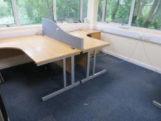 Contents of room to include Three Light Oak Veneer Workstations, Two Steel 4 Drawer Filing Cabinets,