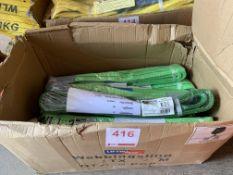 A box of approx. 16 Webbing slings Cap 2T, 2M length. *N.B. This lot has no record of Thorough