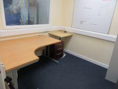 Contents of room to include Light Oak Veneer Workstation, Light Oak Veneer Table, Pedestal, Steel