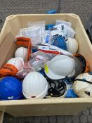 Crate and contents to include large quantity of unused & used hard hats, foot covers and coveralls