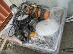 Contents of pallet to include various size pipe stops/blockers, 110V water pumps, Beam Lifting