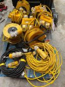 Four 110V splitters, three 110V reel extensions and three 110V leads * This lot is located at Unit
