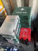 Four First Aid Boxes, four eye was boxes, two Firechief Fire Blankets in cases (all unused) *This