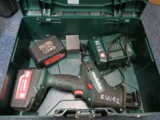 Metabo 18v reciprocating saw in case with 2 x 4 .AH batteries and charger * This lot is located at