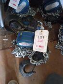 Xona 5t chin block XNCB, T10 x 300mm chain with 3m lift, serial number 009240310 (YOM 11/2020). *N.