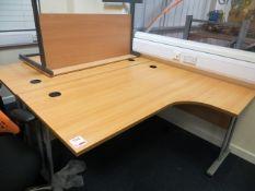 Two Light Oak Veneer Workstations & a Light Oak Veneer table* This lot is located at Unit 15,