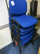 Seven Steel Frame Chairs Blue Cloth* This lot is located at Unit 15, Horizon Business Centre,