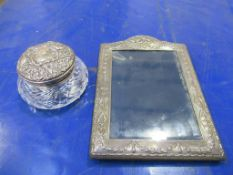 Silver picture frame and silver topped glass pot