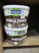 2 x tubs of Johnstones 'Dark Oak' 9L Shed & Fence paint