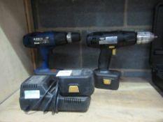 2 x Cordless drills (1 x Kobe, 1 x Draper) with battery charger (Draper)