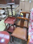 Miscellaneous furniture including barley twist stand