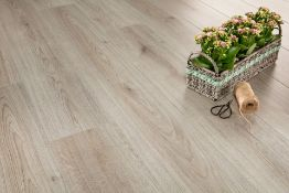 9.56m2 LAMINATE FLOORING TREND GREY OAK. With a warm grey hue and an authentic natural grain, this