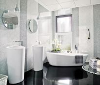 9.3 Square Meters of Porcelanosa Nacare Blanco Wall and Floor Tiles. 33.3x66.6cm per tile. 1.55m2