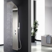 New & Boxed Chrome Modern Bathroom Shower Column Tower Panel System With Hand Held Massage Jets.