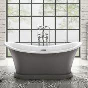 1700mm York Grey Bathtub.RRP £3,499.BR300GREY.Victorian inspired bath Stunning Matte Earl Grey