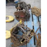 2 X various Trolley Lifting Chain Hoists (both 200KG). Please Note this lot is located at