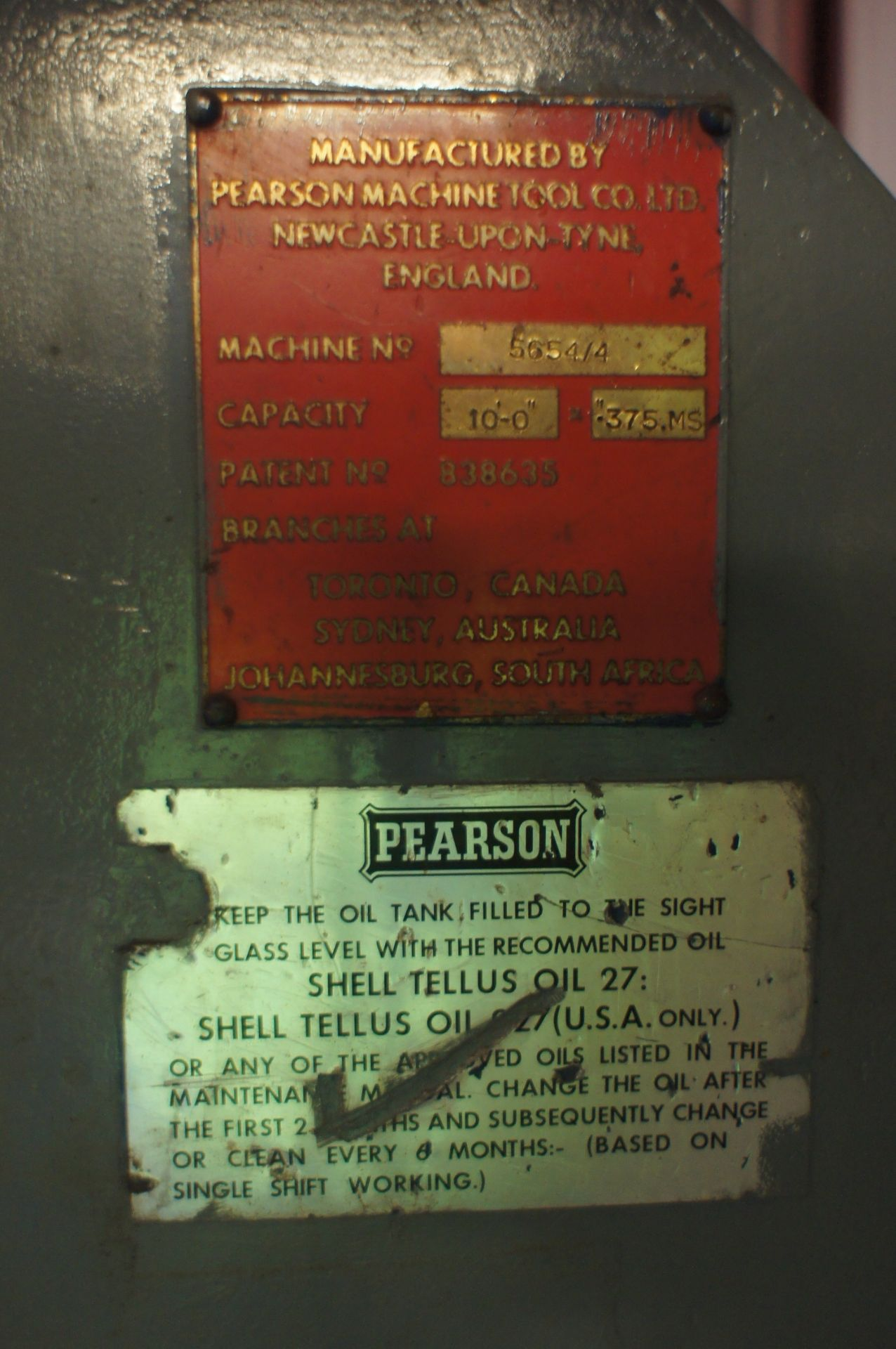 Pearson Hydraulic Guillotine, 3500mm x 10mm, 415v - Image 5 of 6