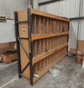 Bay of boltless Racking (2 frame ends & 8 crossbeams) with timber shelving