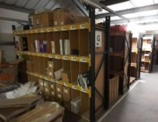 7 bays of boltless Racking with timber shelving, to include; 14 end frames & 42 crossbeams (12ft