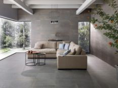 NEW 7.1M2 Porcelanosa Dayton Graphite Floor and Wall Tiles. 59.6x59.6cm per tile. 1.42m2 per pack.