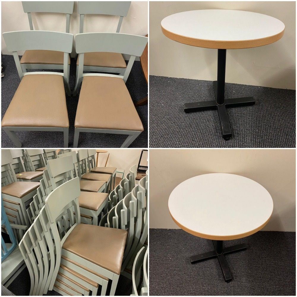 100 Bergamo Stackable Conference/Restaurant Chairs and 36 Circular Tables