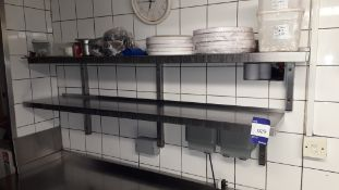 2 x Stainless Steel Wall Mount Shelves 1500mm