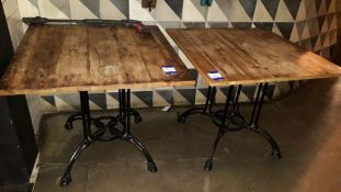 2 x Cast Iron Base Timber Topped Table 880 x 880