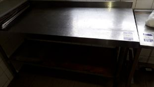 Stainless Steel Topped Food Prep Table 1500 (excludes contents)