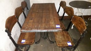 Pitch Pine Topped Table 1400mm on Vintage Cast Iron Supports with 2 Cast Iron Triple Seat Theatre