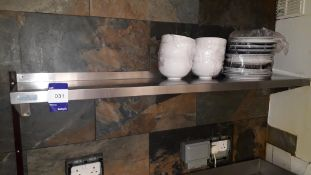 2 x Vogue Stainless Steel Wall Mount Shelves 1500 & 900mm