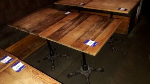 2 x Cast Iron Base Timber Topped Table 600 x 600