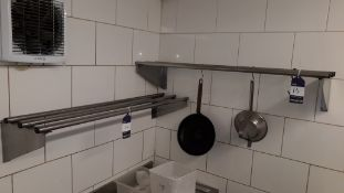 2 x Stainless Steel Wall Mounted Wide Piped Shelves 1200mm