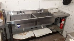 Vogue Stainless Steel Twin Sink with Right Hand Drainer 1800x600 (Requires disconnection by