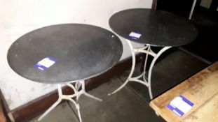 2 x Steel Framed Ornate 600mm Circular Garden Tables