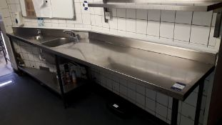 Stainless Steel Shaped Food Prep Table with 2 Sinks 3360mm (Disconnection required by Qualified