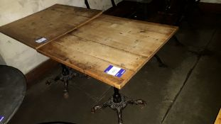 2 x Cast Iron Base Timber Topped Table 680 x 680