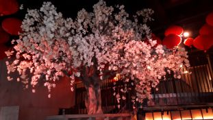 Artificial Cherry Blossom Tree (White), Overall height approx. 4,645mm (including 445mm base plate u