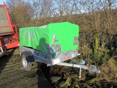 Fabryka Przyczep Niewladow e9*2007/46*650 single axle trailer, with plastic sheeting, Approx. 7ft