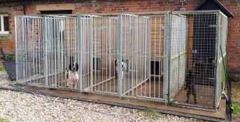 Four Bay Galvanised Steel Dog Kennel / Run