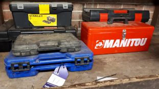 3 x various toolboxes and Draper Expert socket set