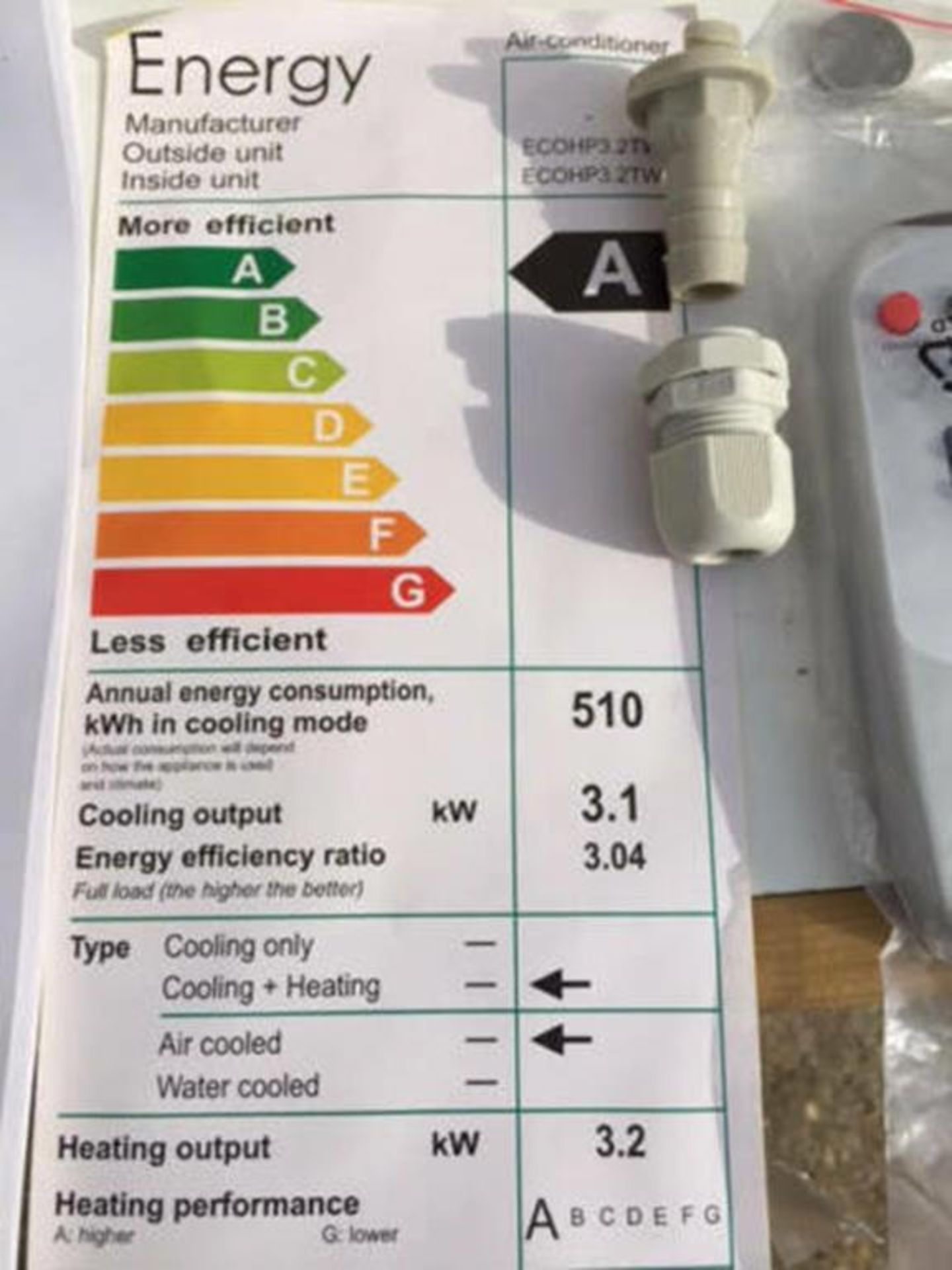 Brand New and Boxed Eco Air Conditioning Heat Pump Through Wall Unit - Image 4 of 11