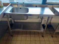 6x Various Sizes S/S Prep Tables, 1x Sissons S/S Sink Unit and 1x S/S Mobile Prep Table